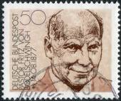 Postage stamp printed in Germany, shows portrait of Pastor Fritz von Bodelschwingh, manager of Bethel Institute (for the incurable sick) — Stock Photo