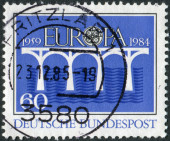 Postage stamp printed in Germany, dedicated to the 25th anniversary of the European Conference of Postal and Telecommunications Administrations (CEPT) — Foto Stock