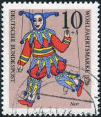 "Postage stamp printed in Germany, shows a puppet ""Jester"" from the collection of puppet theater in Munich — Stock Photo"