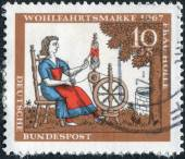 """Postage stamp printed in Germany, shows the illustration of the Brothers Grimm tale """"Mother Hulda"""" — Stock Photo"""
