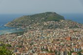 Alanya, sea port and the Mediterranean Sea from the bird's-eye view. Turkey. — Stock Photo