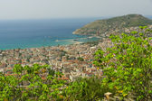 Alanya, sea port and the Mediterranean Sea from the bird's-eye view. Turkey. — Stock Photo