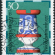 Postage stamp printed in Germany, shows a chess piece (rook) of the 19th century made by Faienc Works, Gien, France, now in Hamburg museum — Stock Photo #53431047