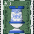 Postage stamp printed in Germany (West Berlin), shows a chess piece (rook) of the 19th century made by Faienc Works, Gien, France, now in Hamburg museum — Stock Photo #53431261