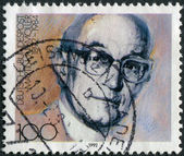 Postage stamp printed in Germany, shows a portrait of the German anti-Nazi, theologian and Lutheran pastor, Friedrich Gustav Emil Martin Niemoeller — Stock Photo
