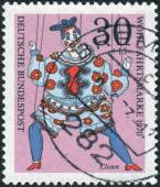 """Postage stamp printed in Germany, shows a puppet """"Clown"""" from the collection of puppet theater in Munich — Stock Photo"""