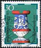 Postage stamp printed in Germany, shows a chess piece (rook) of the 19th century made by Faienc Works, Gien, France, now in Hamburg museum — Stock Photo