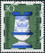 Postage stamp printed in Germany (West Berlin), shows a chess piece (rook) of the 19th century made by Faienc Works, Gien, France, now in Hamburg museum — Stock Photo