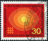 "Postage stamp printed in Germany, dedicated to the 14th meeting of German Protestants (Evangelical Synod), Stuttgart, shows ""Hungry for Justice"" — 图库照片"