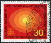 "Postage stamp printed in Germany, dedicated to the 14th meeting of German Protestants (Evangelical Synod), Stuttgart, shows ""Hungry for Justice"" — Stockfoto"