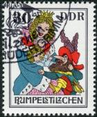 Postage stamp printed in Germany, shows a scene from a fairy tale by the Brothers Grimm, Rumpelstiltskin — Photo