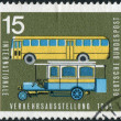 Postage stamp printed in Germany, dedicated to the International Transport and Communications Exhibition, Munich, shows the old and new post buses — Stock Photo #53959145