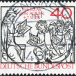 Postage stamp printed in Germany, dedicated to St. Thomas Aquinas scholastic philosopher — Stock Photo #53959433