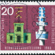 Postage stamp printed in Germany, dedicated to the International Transport and Communications Exhibition, Munich, shows semaphore telegraph and telecommunication tower — Stock Photo #53959455