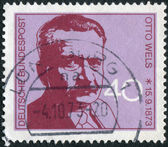 Postage stamp printed in Germany, shows the Leader of German Social Democratic Party (SPD), Otto Wels — Stock Photo