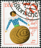 Postage stamp printed in Germany (GDR), shows a vintage doll - Tumbler, 1820 — Stock Photo