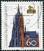Postage stamp printed in Germany, dedicated to the 750th anniversary of the Frankfurt Cathedral — Stock Photo