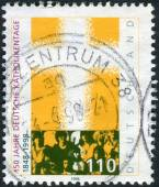 Postage stamp printed in Germany, dedicated to the 150th anniversary of the Congress of German Catholics — 图库照片