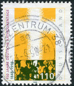 Postage stamp printed in Germany, dedicated to the 150th anniversary of the Congress of German Catholics — Stock Photo