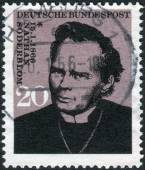 Postage stamp printed in Germany, shows a Swedish clergyman, Archbishop of Uppsala in the Church of Sweden, and recipient of the 1930 Nobel Peace Prize, Nathan Soederblom — Stock Photo