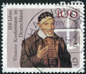 Postage stamp printed in Germany, dedicated to the 150th anniversary of Vincent Conferences in Germany — Stock Photo