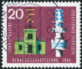Postage stamp printed in Germany, dedicated to the International Transport and Communications Exhibition, Munich, shows semaphore telegraph and telecommunication tower — ストック写真
