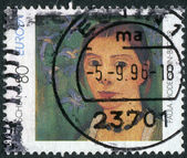 Postage stamp printed in Germany, shows a self-portrait, by Paula Modersohn-Becker — Stock Photo