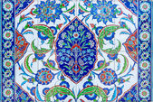 East ornament on the tile on the wall of the mosque in the village of Avsallar. Anatolian coast. — Stock Photo