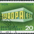 A stamp printed in the Germany, shows the EUROPA and CEPT in the form of the Temple — Stock Photo #54343921