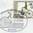 Postage stamp printed in Germany (West Berlin), depicted Antique Bicycles: Bussing bicycle, 1868 — Stock Photo #54344431