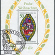 ������, ������: Postage stamp Souvenir Sheet printed in Germany Christmas Issue depicted Nativity Stained glass window Frauenkirche Esslingen