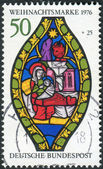 Postage stamp printed in Germany, Christmas Issue, depicted Nativity, Stained glass window, Frauenkirche, Esslingen — Stock Photo