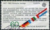 Postage stamp printed in Germany, dedicated to the 25th anniversary of Treaty establishing the European Economic Community (Treaty of Rome) — Stock Photo