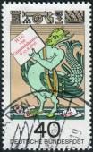 "Postage stamp printed in Germany, dedicated to the 300th anniversary of the birth of Johann Jacob Christoph von Grimmelshausen, author of the ""Adventures of Simplicissimus Teutsch"" — ストック写真"