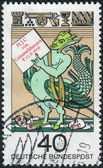"Postage stamp printed in Germany, dedicated to the 300th anniversary of the birth of Johann Jacob Christoph von Grimmelshausen, author of the ""Adventures of Simplicissimus Teutsch"" — Photo"