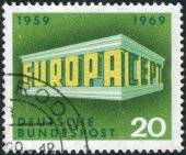 A stamp printed in the Germany, shows the EUROPA and CEPT in the form of the Temple — Stock Photo