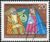 Postage stamp printed in Germany (West Berlin), Christmas Issue, depicts The Holy Family — Stock Photo