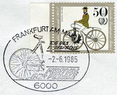 Postage stamp printed in Germany (West Berlin), depicted Antique Bicycles: Bussing bicycle, 1868 — Stockfoto