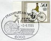 Postage stamp printed in Germany (West Berlin), depicted Antique Bicycles: Bussing bicycle, 1868 — Stock Photo