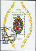 Postage stamp (Souvenir Sheet) printed in Germany, Christmas Issue, depicted Nativity, Stained glass window, Frauenkirche, Esslingen — Stock Photo