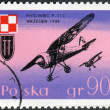 Postage stamp printed in Poland, shows a aircraft P-11C Dive Bombers and Polish Air Force Emblem — Stock Photo #54590493