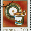 Postage stamp printed in Poland, shows a Polish ceramics, Cup, saucer, 1820 — Stock Photo