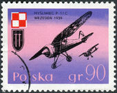 Postage stamp printed in Poland, shows a aircraft P-11C Dive Bombers and Polish Air Force Emblem — Stock Photo