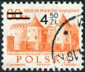Postage stamp printed in Poland (overprint, denomination 1972), shows the Barbican, Githic-Renaissance castle — Stock Photo