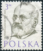 Postage stamp printed in Poland, shows a portrait of a Polish philanthropist, physician and pioneer of physical education in Poland, Henryk Jordan — Stock Photo