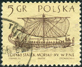 Postage stamp printed in Poland, shows the ancient Egyptian maritime ship, bas-relief of the Deir el-Bahari — Stock Photo