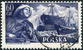 Postage stamp printed in Poland, shows a Fisherman, S.S. Chopin and trawlers — Stock Photo