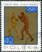 Postage stamp printed in Poland, shows the victories won by the Polish team in 1964 Olympic Games, Boxing — Stock Photo
