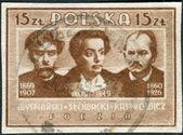 Postage stamp printed in Poland, shows the poets, Stanislaw Wyspianski, Juliusz Slowacki and Jan Kasprowicz — Stock Photo