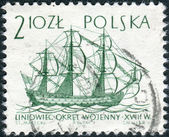 Postage stamp printed in Poland, shows a Line ship, 18th century — Stock Photo